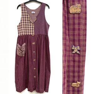 Vintage Plaid Novelty Button Front Jumper Dress